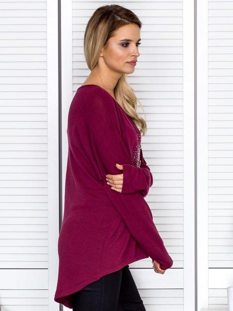 Bluzka damska oversize z kolorowymi dżetami bordowa                                  zdj.                                  3