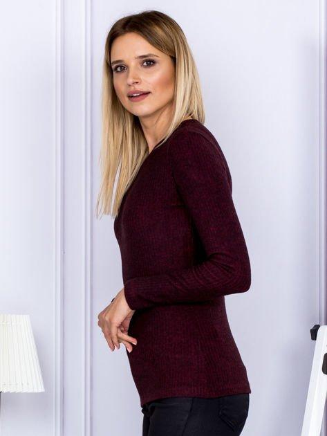 Bluzka damska prążkowana z długim rękawem bordowa                              zdj.                              5