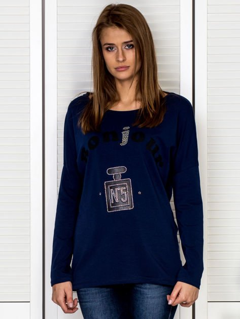 Bluzka damska z motywem perfum i dżetami granatowa                              zdj.                              1