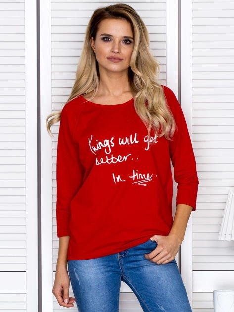Bluzka damska z napisem czerwona                              zdj.                              1