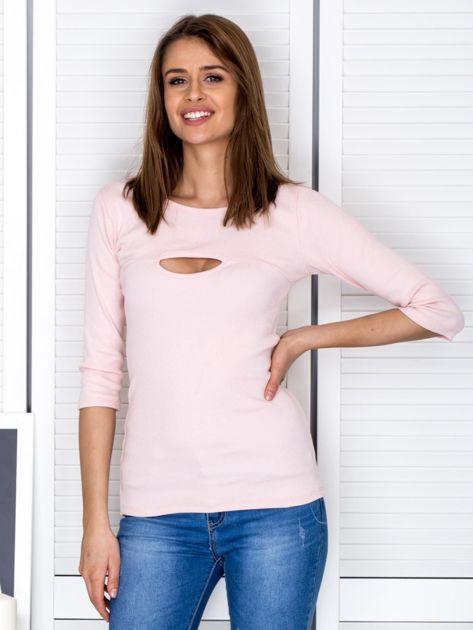 Bluzka jasnoróżowa z wycięciem na dekolcie                              zdj.                              1