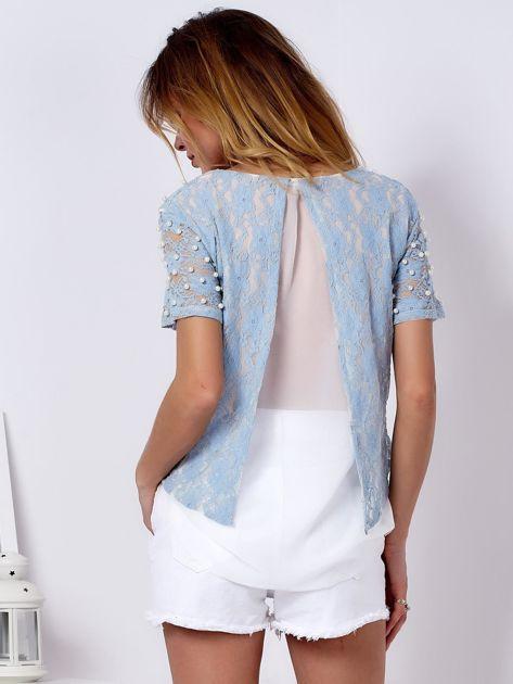 Bluzka koronkowa jasnoniebieska z perełkami                              zdj.                              2