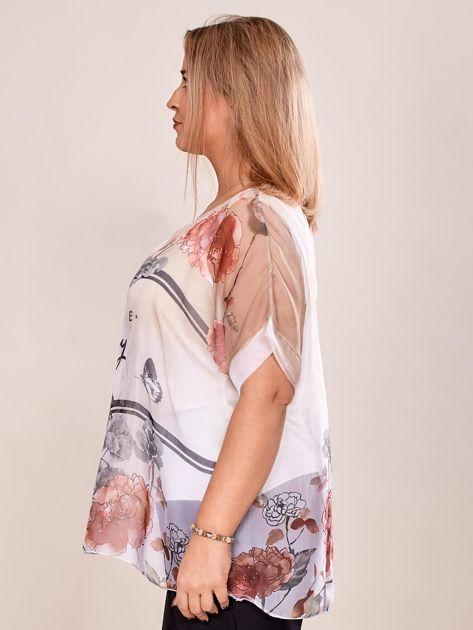 Bluzka koszulowa z napisem CHOOSE HAPPY beżowa PLUS SIZE                              zdj.                              3
