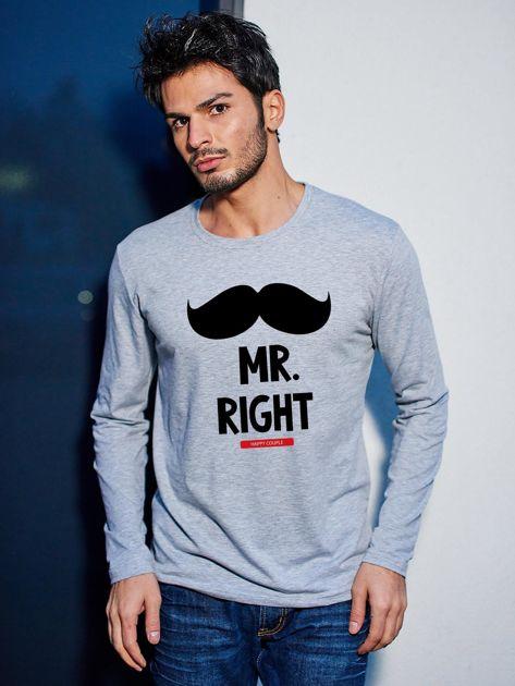 Bluzka męska szara z wąsami MR. RIGHT dla par                                  zdj.                                  1