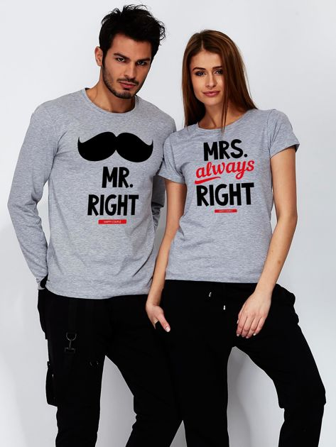 Bluzka męska szara z wąsami MR. RIGHT dla par                              zdj.                              3