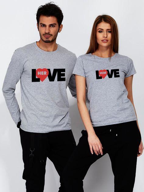 Bluzka szara męska LOVE HER z nadrukiem dla par                                  zdj.                                  3