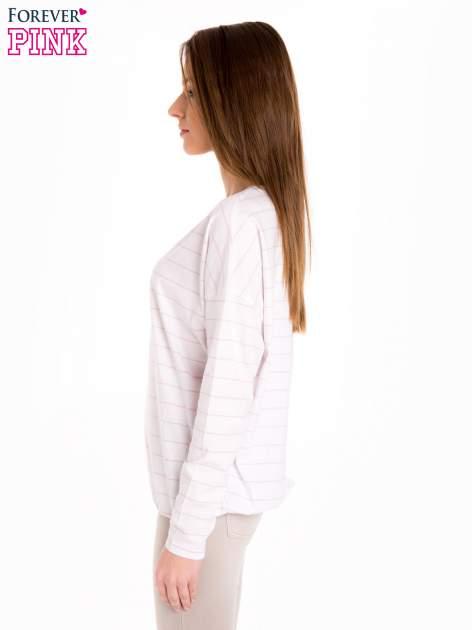 Bluzka w biało-różowe paski z gumką u dołu                                  zdj.                                  3