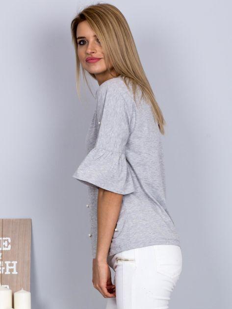 Bluzka z rozszerzanymi rękawami i perełkami jasnoszara                                  zdj.                                  5