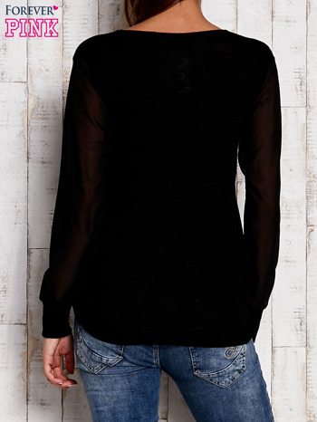 Bluzka z szyfonowymi rękawami czarna                              zdj.                              4