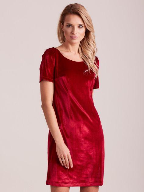 Bordowa aksamitna sukienka                              zdj.                              1