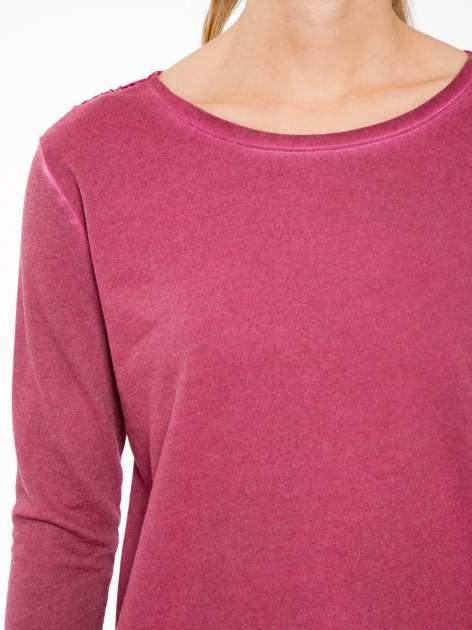 Bordowa bluza z koronkową wstawką na plecach                                  zdj.                                  5