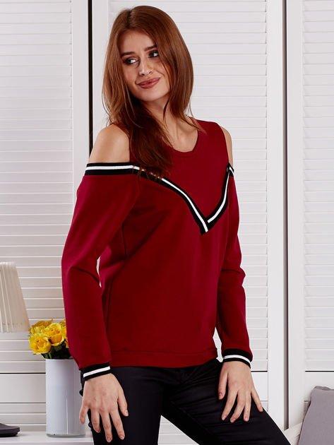 Bordowa bluza z ukośnymi ściągaczami                              zdj.                              5