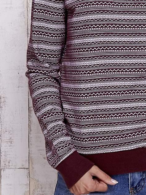 Bordowa bluzka w geometryczne wzory                                  zdj.                                  5