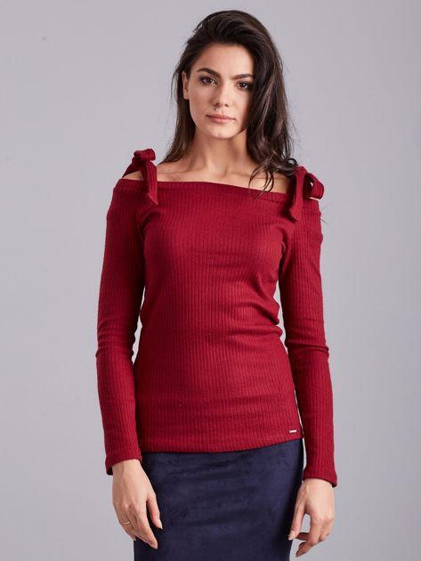 Bordowa bluzka w prążek z wiązaniami                              zdj.                              2
