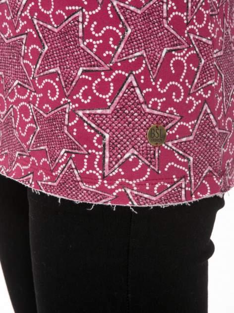 Bordowa bluzka z surowym wykończeniem we wzór gwiazd                                  zdj.                                  9