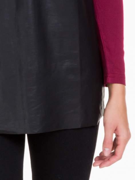 Bordowa bluzka ze skórzanym czarnym przodem                                  zdj.                                  6