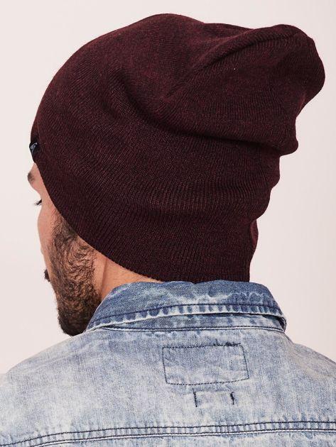 Bordowa czapka męska beanie                               zdj.                              3