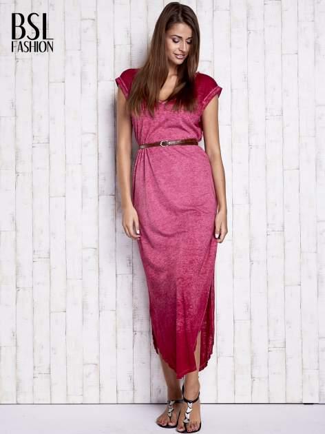 Bordowa dekatyzowana sukienka maxi                                  zdj.                                  4