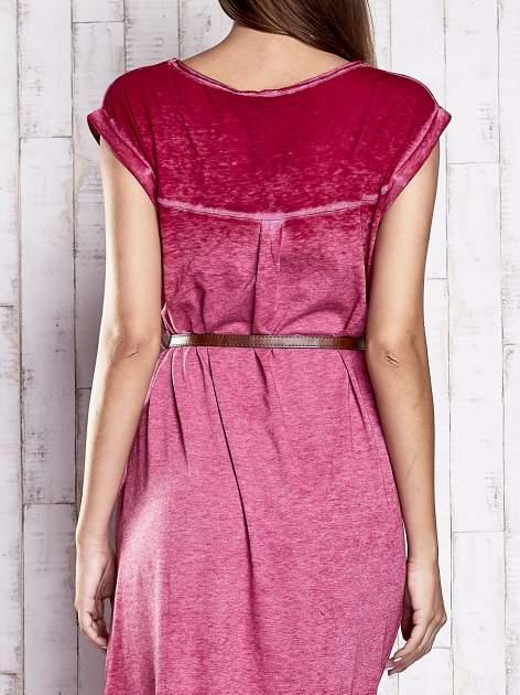 Bordowa dekatyzowana sukienka maxi                                  zdj.                                  7