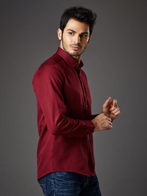 Bordowa koszula męska regular fit                              zdj.                              6