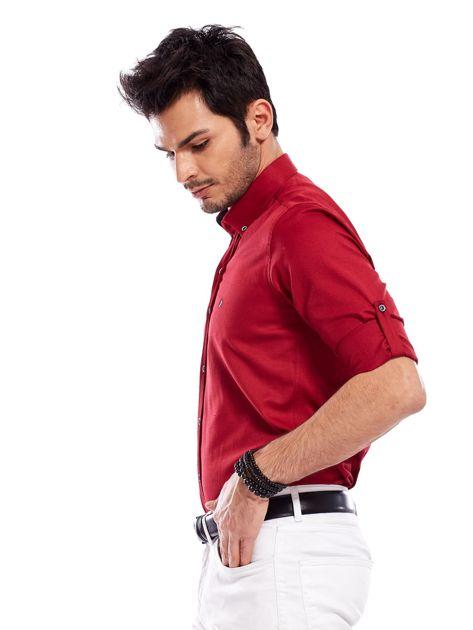 Bordowa koszula męska regular fit z podwijanymi rękawami                               zdj.                              9