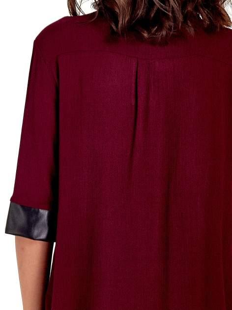 Bordowa koszula ze skórzanymi mankietami                                  zdj.                                  7