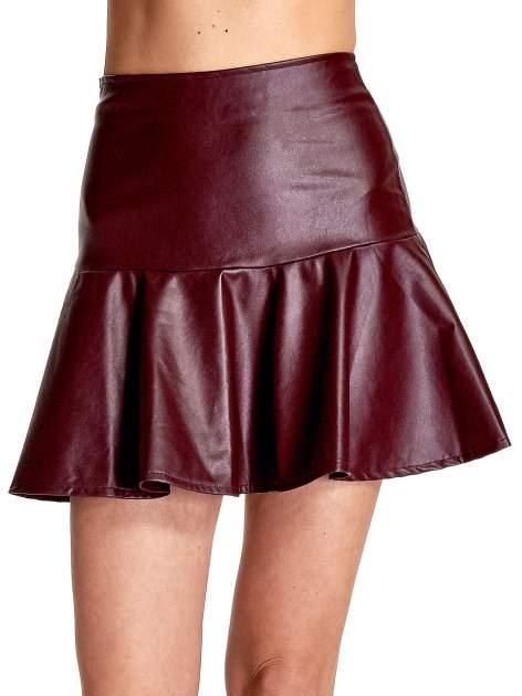 Bordowa skórzana spódnica mini z falbaną                                  zdj.                                  5
