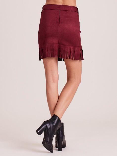 Bordowa spódnica z frędzlami                              zdj.                              2