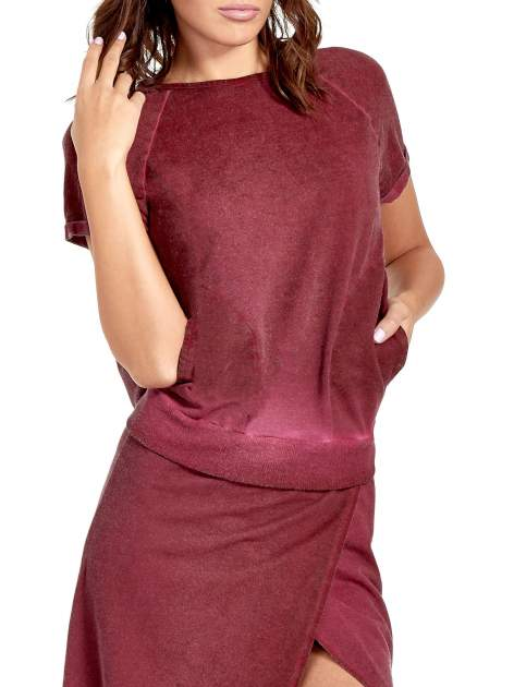 Bordowa sukienka maxi z dekoltem na plecach                              zdj.                              5