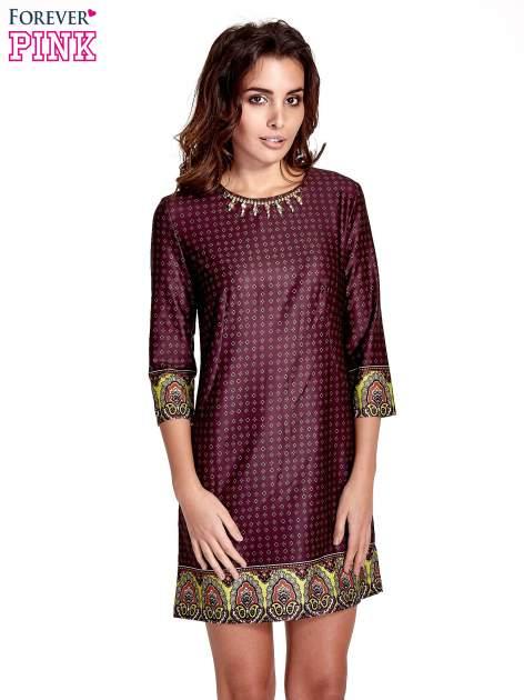 Bordowa sukienka w indyjskim stylu                                   zdj.                                  1