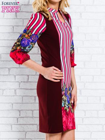 Bordowa sukienka w kwiaty w orientalnym stylu                                  zdj.                                  3