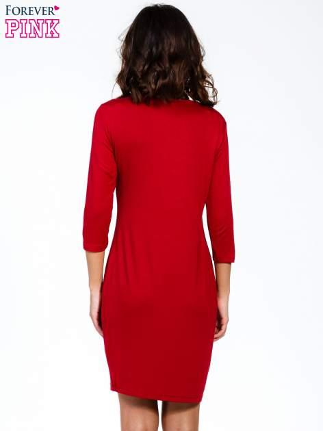 Bordowa sukienka z suwakiem                                  zdj.                                  4