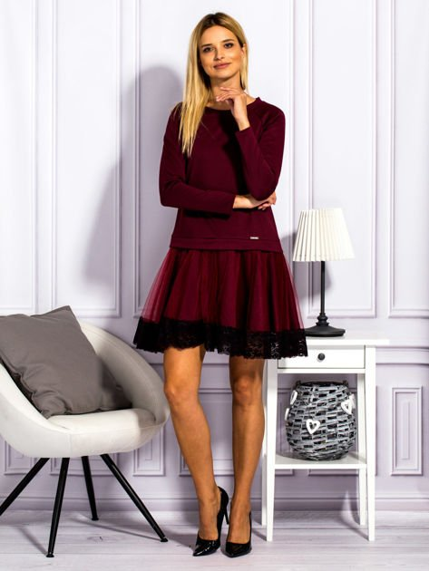Bordowa sukienka z tiulową spódnicą                              zdj.                              4