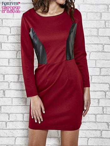 Bordowa sukienka ze skórzanymi wstawkami                                  zdj.                                  1