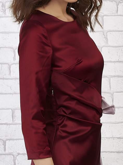 Bordowa sukienka ze srebrną kokardą                                   zdj.                                  6