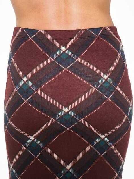 Bordowa wełniana ołówkowa spódnica w romby                                  zdj.                                  6