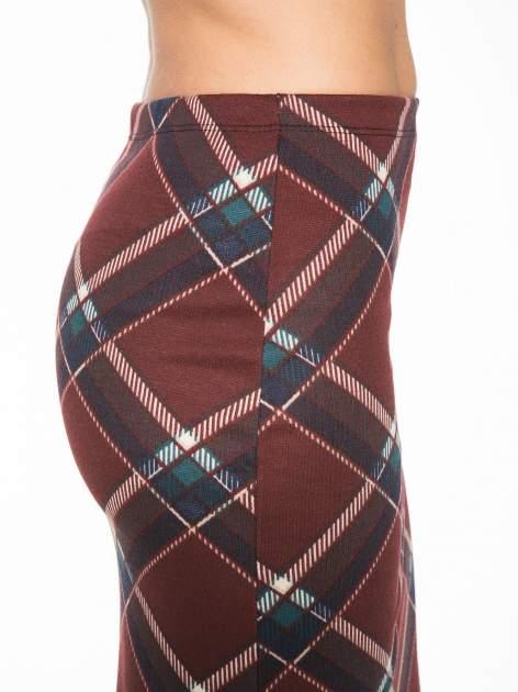 Bordowa wełniana ołówkowa spódnica w romby                                  zdj.                                  7