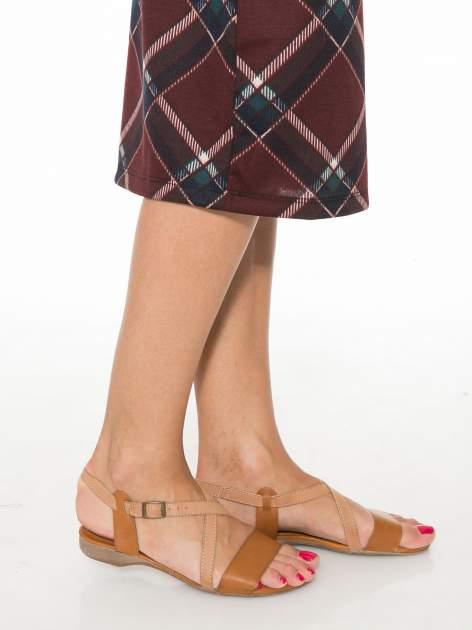 Bordowa wełniana ołówkowa spódnica w romby                                  zdj.                                  8