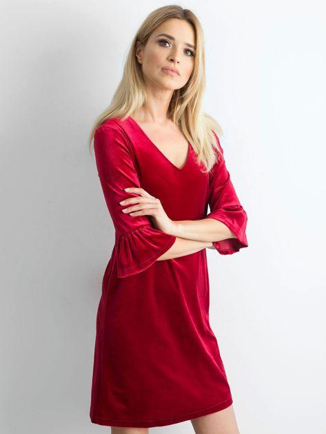 Bordowa welurowa sukienka damska                              zdj.                              3