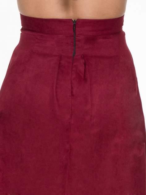 Bordowa zamszowa spódnica midi z kontrafałdami                                  zdj.                                  5