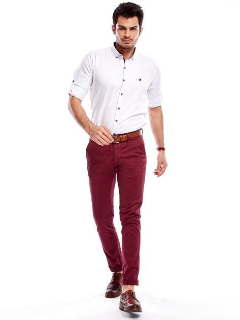 Bordowe bawełniane spodnie męskie chinosy                                   zdj.                                  9