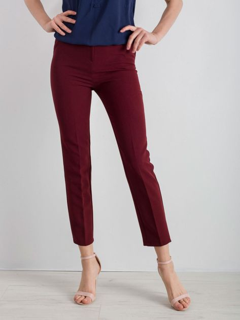 Bordowe klasyczne spodnie                              zdj.                              1