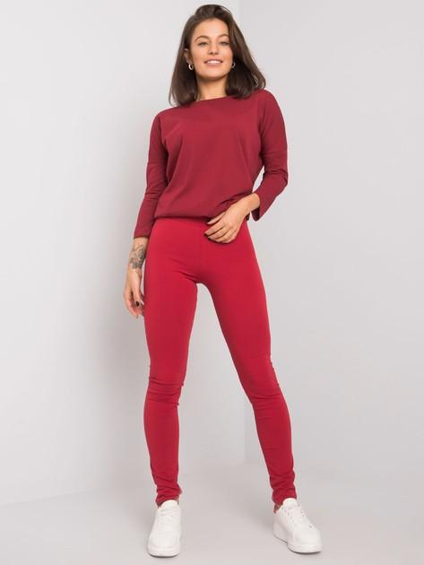 Bordowe legginsy Basic                              zdj.                              3