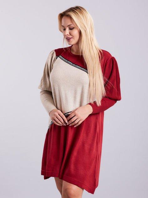Bordowo-beżowa sukienka dzianinowa PLUS SIZE                              zdj.                              3