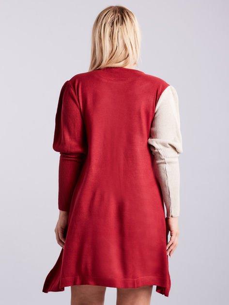 Bordowo-beżowa sukienka dzianinowa PLUS SIZE                              zdj.                              2