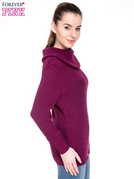 Bordowy ciepły sweter z golfowym kołnierzem                                  zdj.                                  3