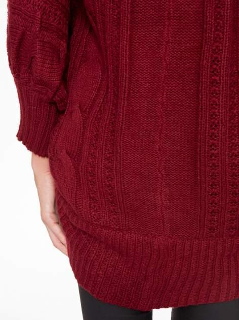 Bordowy dziergany sweter typu otwarty kardigan                                  zdj.                                  8