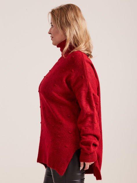 Bordowy sweter z golfem PLUS SIZE                              zdj.                              3