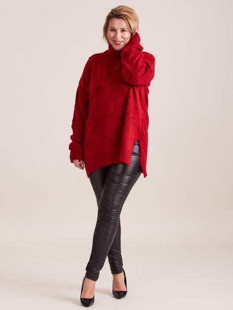 Bordowy sweter z golfem PLUS SIZE                              zdj.                              4