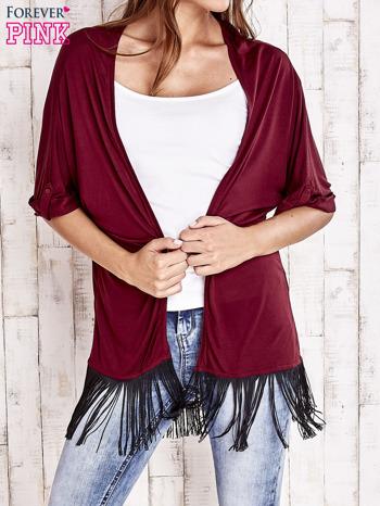 Bordowy sweter z podwijanymi rękawami i frędzlami na dole                                  zdj.                                  1